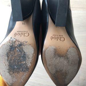 Chloe Shoes - Black leather Chloe wedges size 36